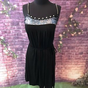 HOT Gaudi Black Sequined Jeweled Mini Dress